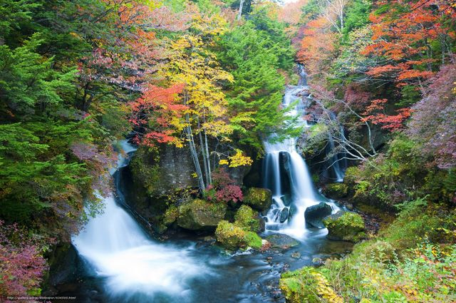 This is a photo of two Japanese waterfalls in Autumn. Martin Acton's Aikido Institute