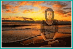 young lady practicing meditation. She is imagining a beach. Martin Acton's Aikido Institute
