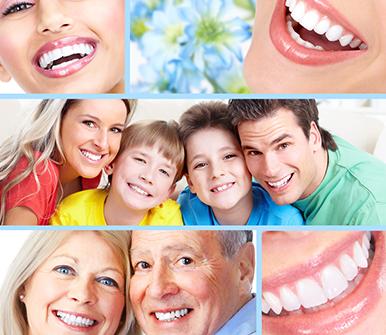 Collage di foto di persone sorridenti