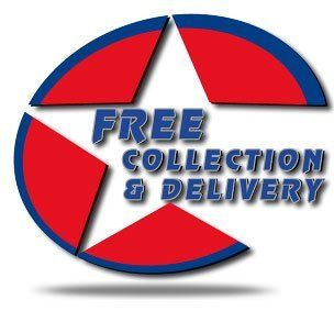 Free collection and delivery logo