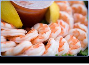 Fresh prawns and seafood.