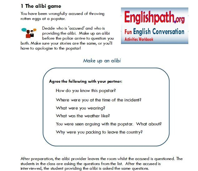 Fun English Conversation Activity - Free Time - ESL High School