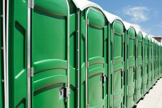 Row of portable toilets