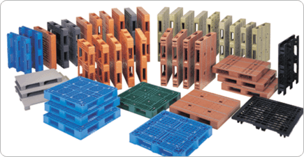 A range of different coloured plastic pallets