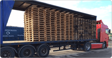 Pallets on the back of a BWP truck