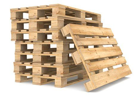 A stack of pallets with one of the side