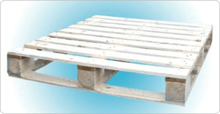 A UK sized wooden pallet with a blue and white background