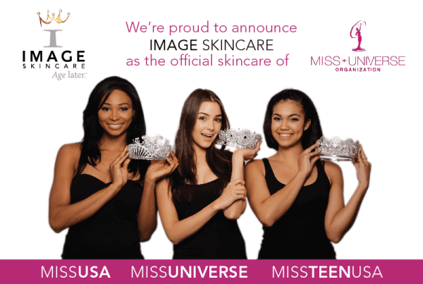 Image skincare advertising with three models