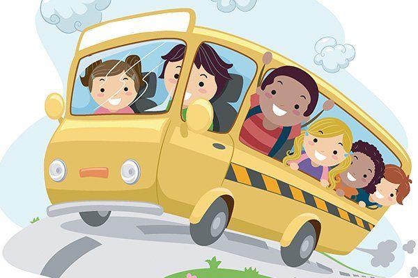 un disegno colorato di uno scuola bus con dentro dei bambini