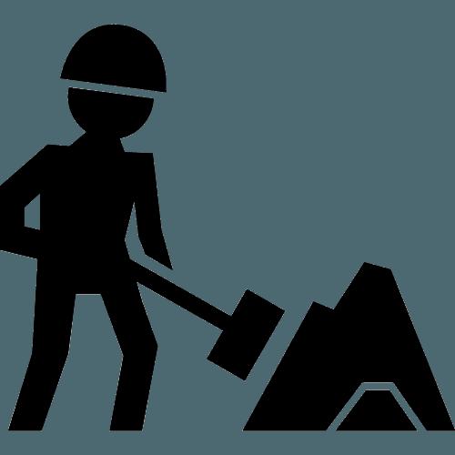 un logo di un uomo con un martello