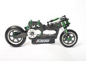 una moto nera e verde con la scritta FAOR