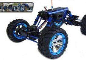 un modellino di un monster truck blu