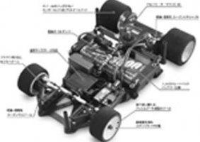una macchinina con vista del motore e le parti indicate da delle frecce su un libretto di istruzioni