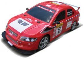 un modellino di una Mitsubishi Lancer rossa