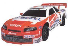 un modellino di una Nissan Sky Line bianca e rossa