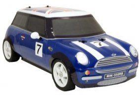 un modellino di una Mini Cooper blu a righe bianche