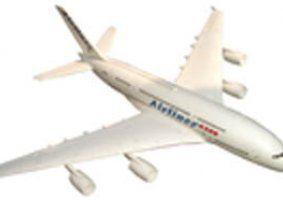 un modellino di un aereo di linea bianco