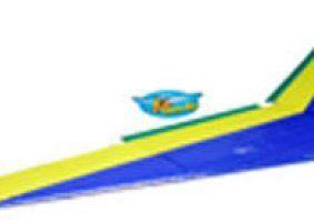 un'ala di un aeroplanino blu e giallo