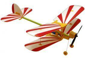 un aeroplanino bianco a righe rosse