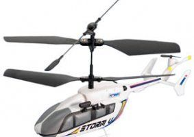 un elicottero bianco con l'elica nera