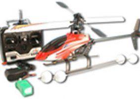 un elicottero arancione e nero con il radiocomando