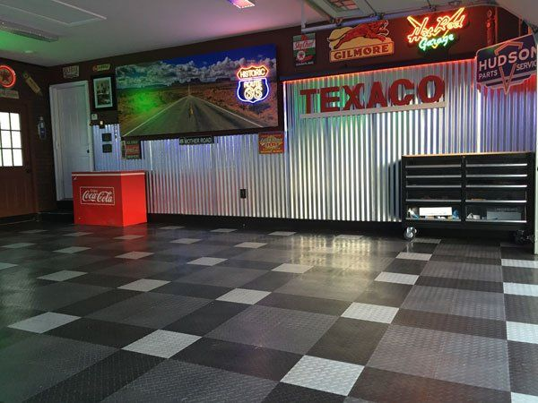 Harley Davidson Themed Custom Garage Storage System Tile Flooring