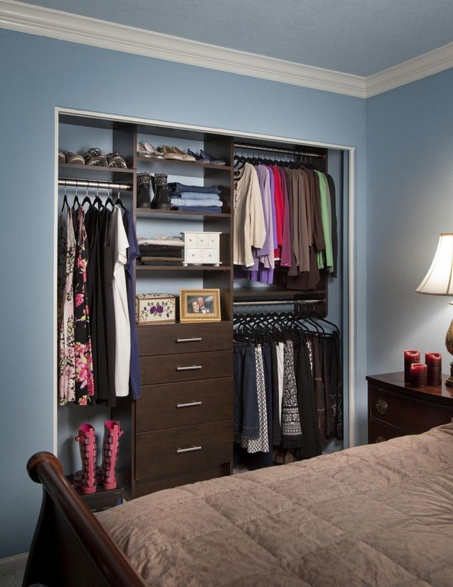 Small Reach In Closet With A Chocolate Pear Finish