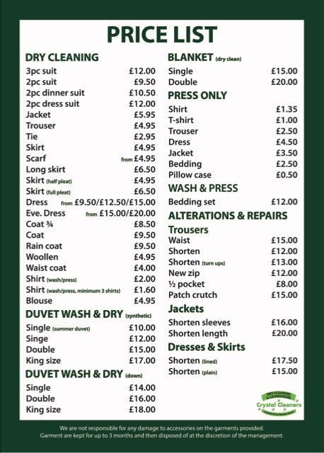 Price List For Dry Cleaning Staines Surrey Crystal