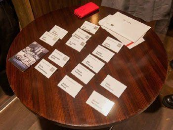 Name cards for presentation attendees