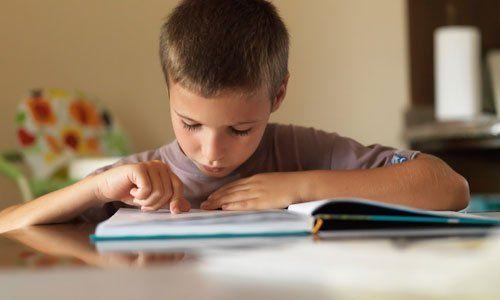 a little boy studying