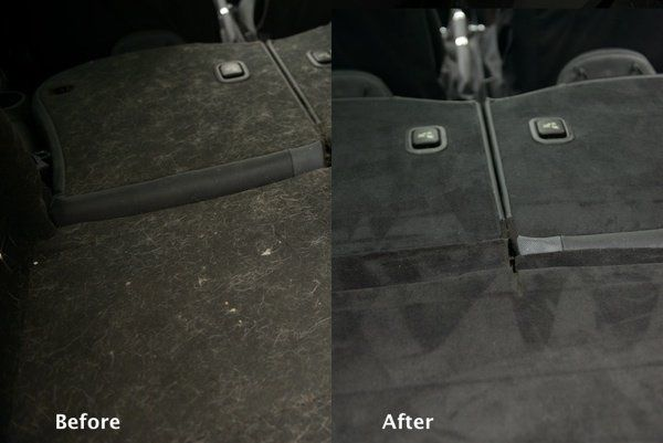 Before and after photo of auto upholstery