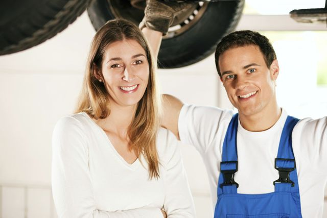 mechanic and happy customer