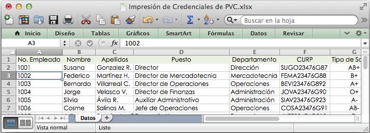 Plantilla de Base de Datos Credenciales de PVC