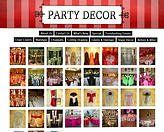 screenshot of a party decorations website