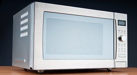 A silver microwave