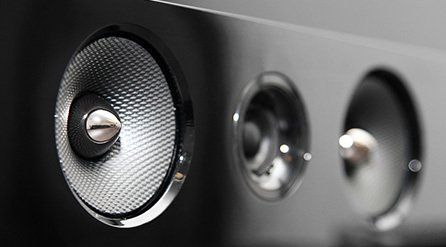 Close up of TV speakers