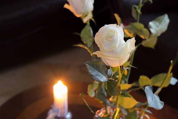 Due rose bianche accanto la candela
