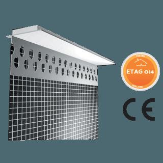 Profilo sotto finestra in PVC adesivo con rete