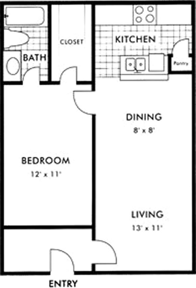 Biscayne at Cityview 1 bed 1 bath 643 sq ft floorplan