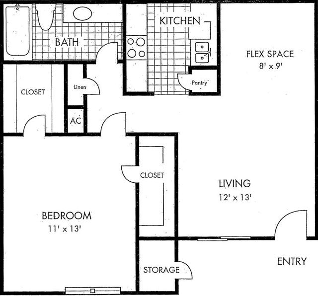 Biscayne at Cityview floorplan 1 bed 1 bath 661 square feet - Houston Texas Apartment