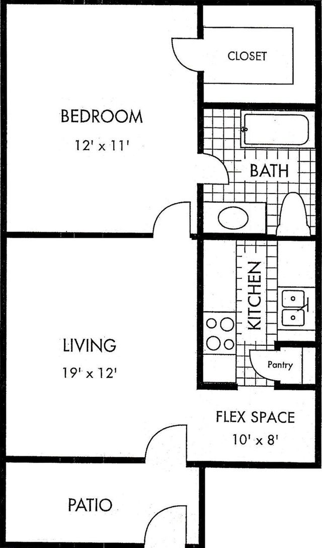 Houston Apartment Biscayne at Cityview floor plan 1 bed 1 bath 730 sq ft layout