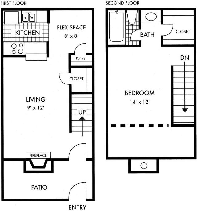 Two Story Biscayne at Cityview floorplan 1 bed 1 bath 813 sq ft - Houston