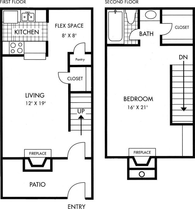 Two Story Biscayne at Cityview floorplan 1 bed 1 bath 928 sq ft
