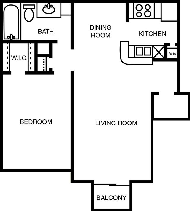 Large Apartment Wesley Gardens Floor Plan 1 bed 1 bath 757 square feet