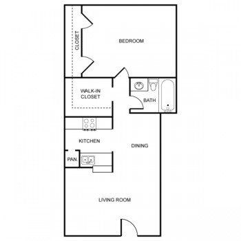 Rockridge Park 1 bed 1 bath Floor Plan