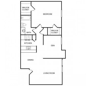Rockridge Park 1 bed 1 bath Floor Plan with Living Room, Den and Dinning Room
