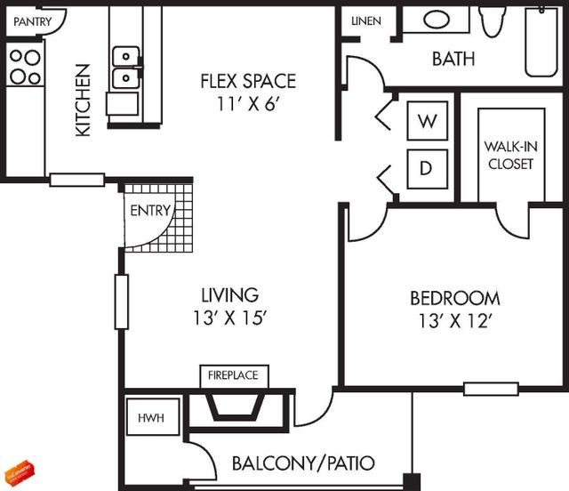 Augusta Floor Plan 1 bed 1 bath 718 square feet with Balcony / Patio
