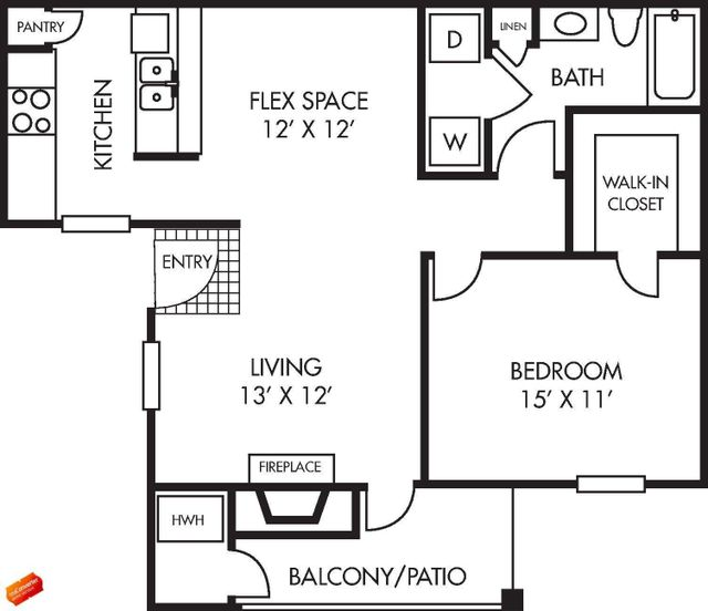 Houston Texas Large Augusta Floor Plan 1 bed 1 bath 827 sq ft with Balcony / Patio