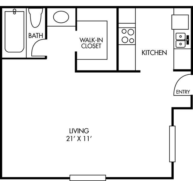 Breckenridge at Cityview 1 bed 1 bath Studio Apartment Floor Plan 368 square feet - Houston Texas