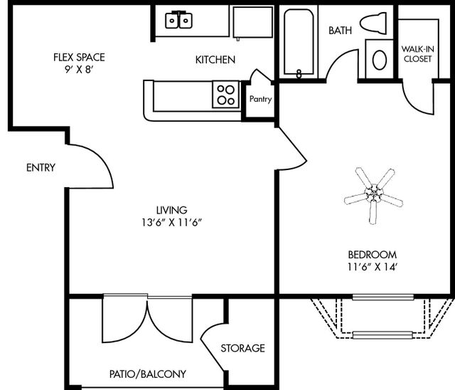 Durham at Cityview Floor Plan 1 bed 1 bath - Houston Texas